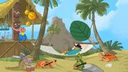 Perry stranded on island