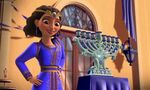 Rebecca with her family's menorah