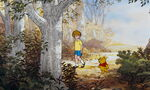 Christopher Robin and Pooh Bear are both walking along the path