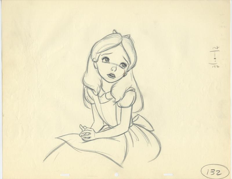 Alice Depressed Milt Kahl Drawing