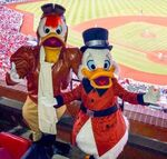 Scrooge and Launchpad at baseball game