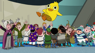 The finkies and speckies toss Ducky Momo in the air for the fourth time