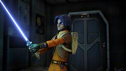 Ezra weilds Kanan's lightsaber