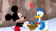 Mickey and donald caught the toy marcher
