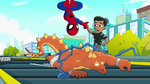 Spider-Man and Reptil vs. Stegron in Marvel Super Hero Adventures
