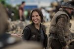 Felicity Jones on the set of Rogue One 1