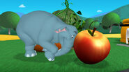 Elephant pushes the peach