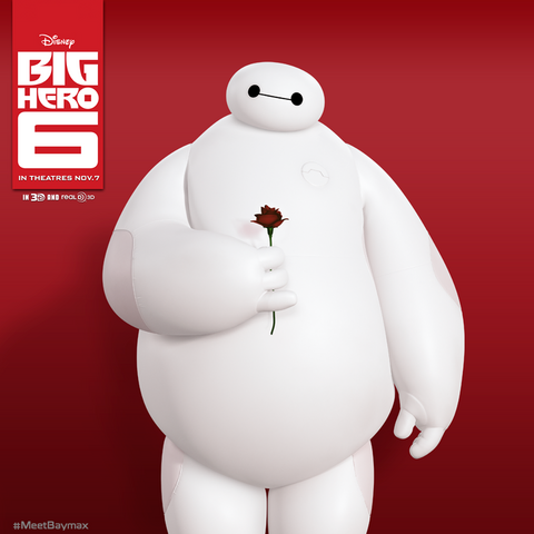 File:Baymax with a Rose in his hand.png