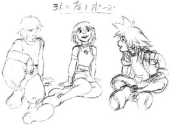 Sora, Kairi, and Riku (Concept Art)