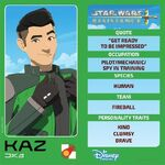 Star Wars Resistance character card - Kaz