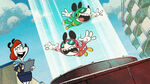 Mickey and Minnie screaming while gliding in a tube
