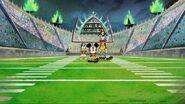 Mickey Donald Goofy in the stadium