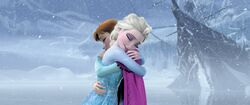 Anna and Elsa embrace
