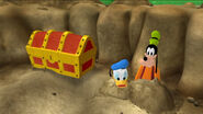 Donald and goofy pop out from the dirt