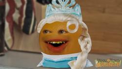 Annoying Orange dressed as Elsa