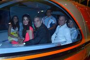 George Clooney, Bob Iger and Willow Bay on the Monorail