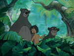 Mowgli, Baloo, and Bagheera see the man-village