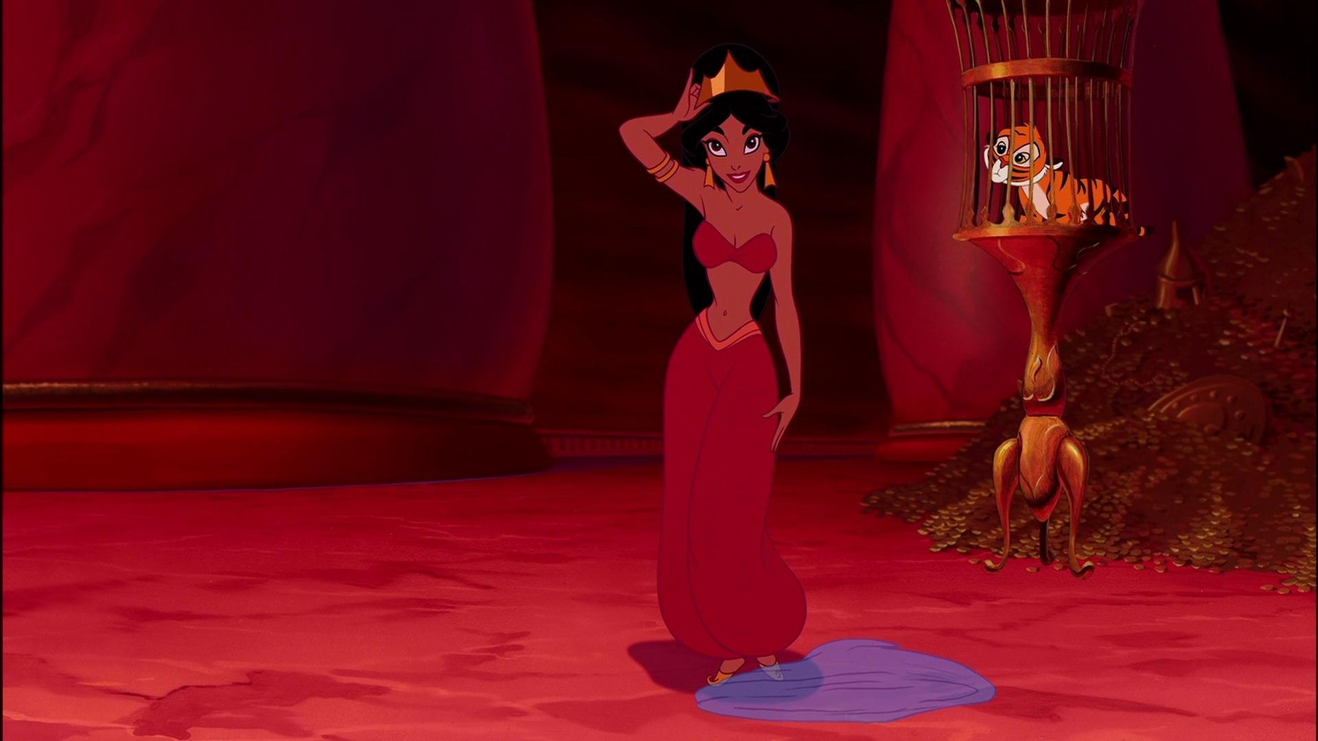 princess jasmine red outfit scene