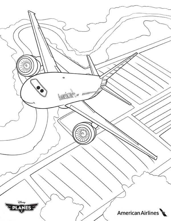 Image American Airlines Plane in Disney Planes Coloring Pagejpg