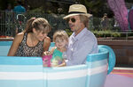 David Spade Jillian Grace & daughter Harper Mad Tea Party Disneyland