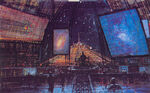 U S S Cygnus Command Tower Interior Concept Art by Peter Ellenshaw