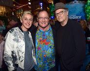 John Lasseter with Ellen DeGeneres Albert Brooks Finding Dory premiere