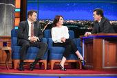 Nick Offerman & Megan Mullally visit Stephen Colbert