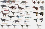25 species concept art for Disney Dinosaur