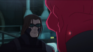 Bucky looks at Red Skull