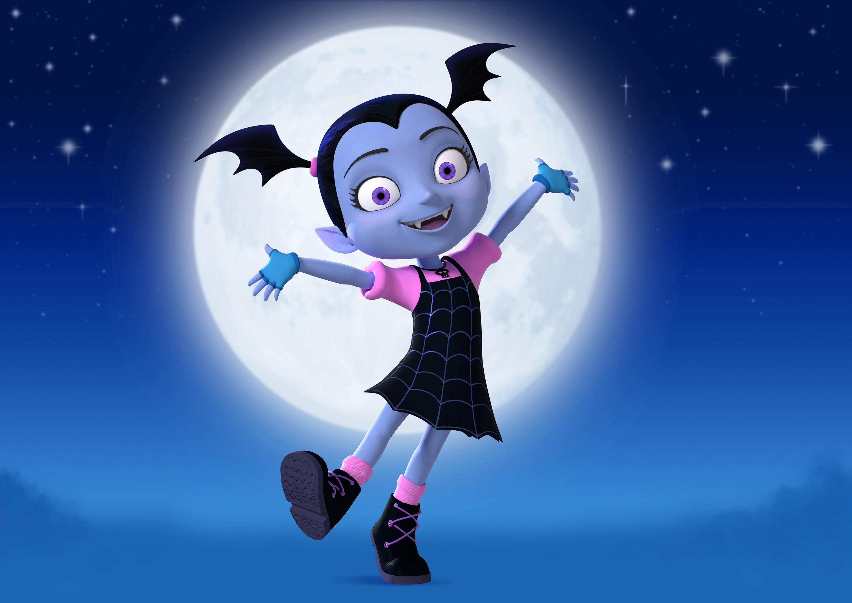 ADS Vampirina Vee Mascot Purple Girl Vampire Costume Halloween Party Fancy Dress