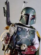 Boba fett with blaster held in right hand