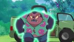 Jumba being hit by Shrink's shrink ray