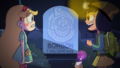 Bon Bon the Birthday Clown - Star and Janna in front of Bon Bon's tombstone.png