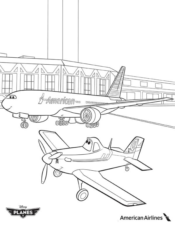 Image - Dusty-and-American-Airlines-Plane-in-Disney-Planes-Coloring ...