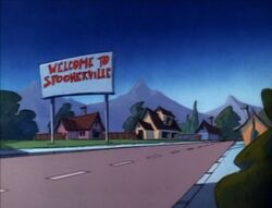 Goof Troop - Spoonerville Welcome Sign at Night