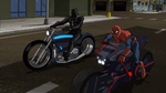 Spider-Man & Agent Venom on their SpiderCycles USMWW