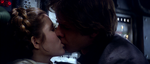 Han and Leia's first kiss