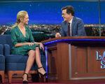 Abby Elliott visits Stephen Colbert
