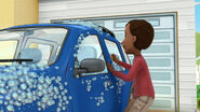 Mr mcstuffins washes the car