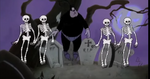 Pete dancing with the Skeletons
