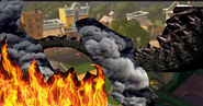 Godzilla attacks Oakey Oaks