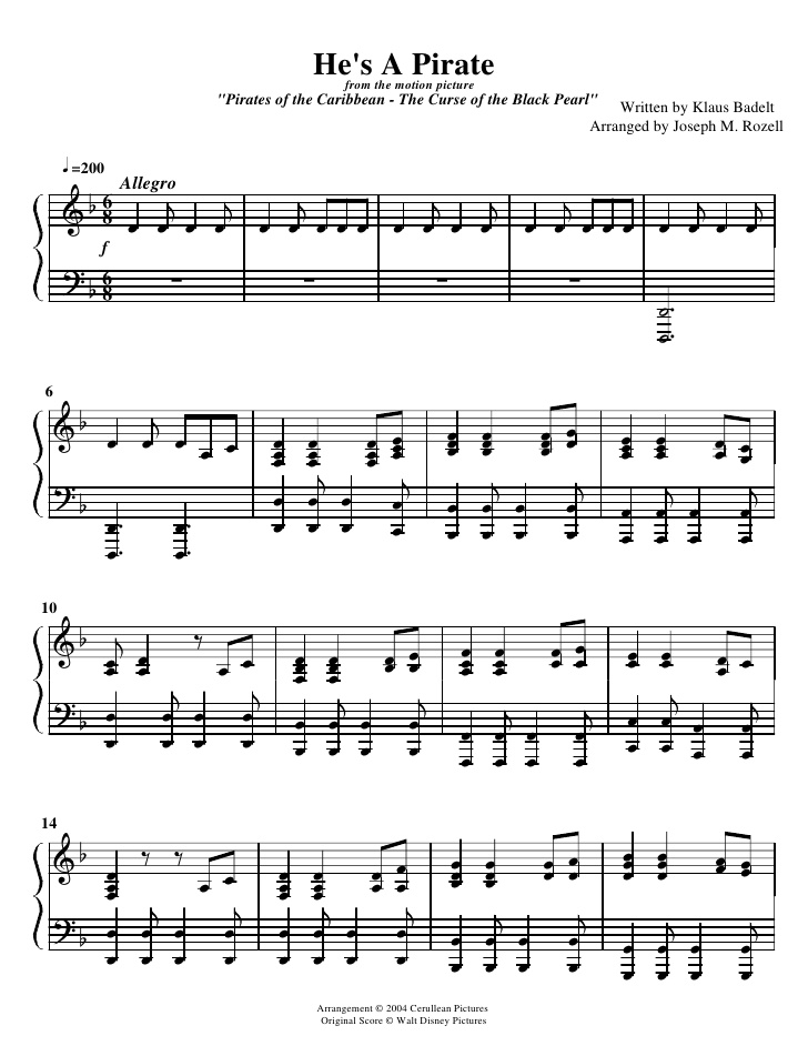Piano lion king piano sheet music : Image - Pirates-of-the-caribean-hes-a-pirate-sheet-music-1-728.jpg ...