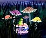 Disney's Alice in Wonderland - Caterpillar and Alice Concept Art by Mary Blair - 1