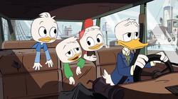 Tick, Trick, Trap und Donald fahren zu Dagobert