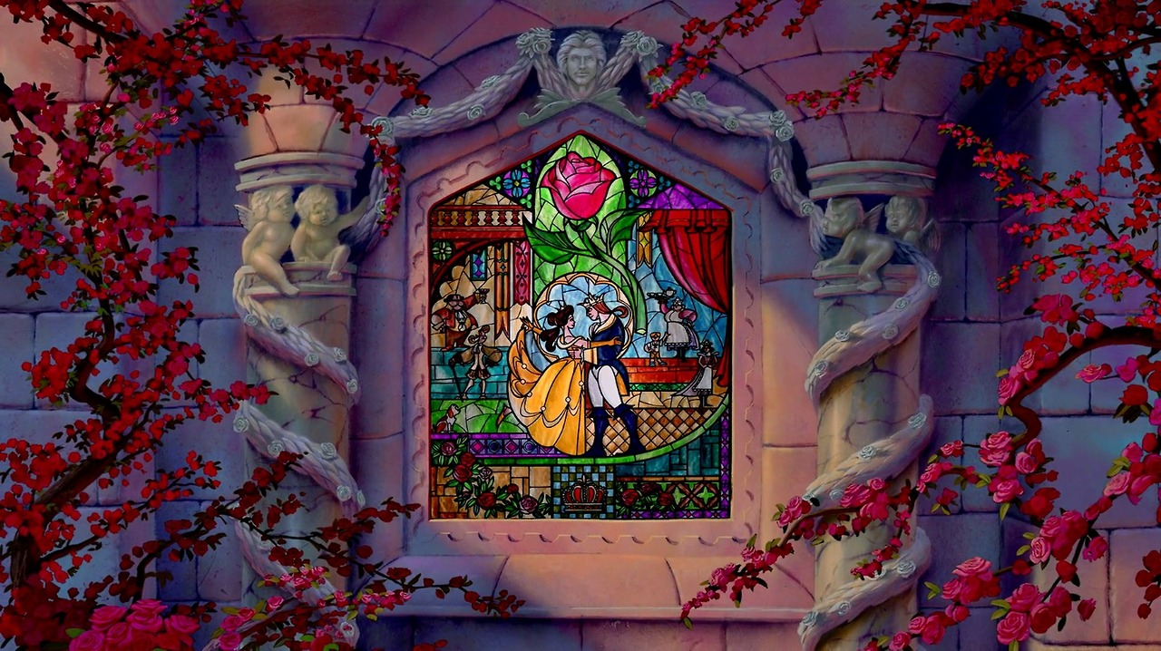 image - beauty and the beast stained glass ending   disney wiki
