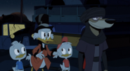 Scrooge, Huey and Dewey with Faris Djinn