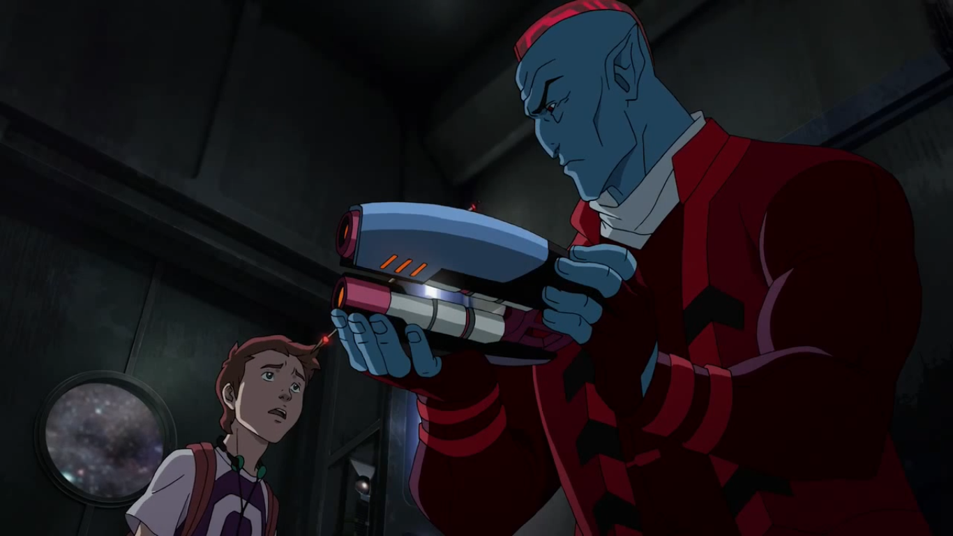 A young Peter Quill and Yondu from the Guardians of the Galaxy animated series.