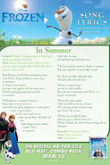 In Summer Lyrics Sheet