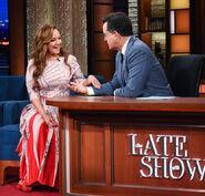 Leah Remini visits Stephen Colbert
