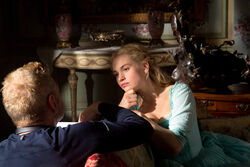 Kenneth Branagh Lily James Cinderella set